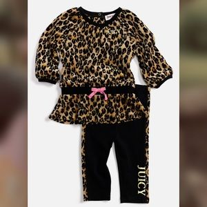 Juicy couture leopard print outfit size 3/6 months